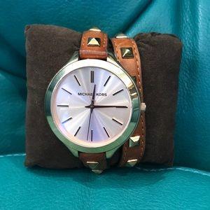 Michael Kors Runway Rose Dial Brown Leather Watch
